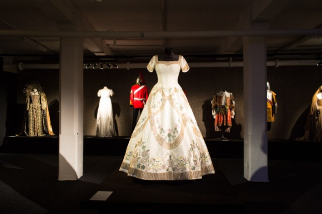 "Centrepiece of the ""Queens"" Gallery – reproduction of QEII Coronation dress, designed by Sir Norman Hartnell"